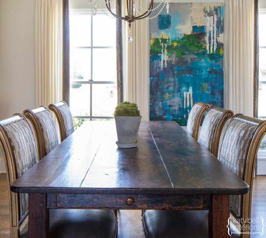 Custom Farm table, upholstered chairs, Local Abstract Art