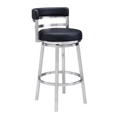 """Madrid 26"""" Faux Leather Bar Stool in Black"""