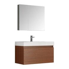 "Fresca Mezzo 36"" Teak Wall Hung Modern Bathroom Vanity"