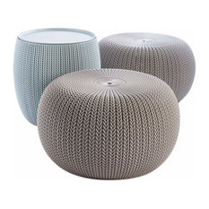 3-Piece Modern Compact Indoor/Outdoor Storage Table and 2 Seating Poufs