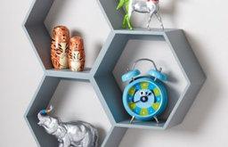 Honeycomb Wall Shelf, Gray
