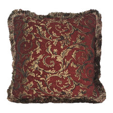 "Red Gold Chenille Floral Throw Pillow With Fringe, 19""x19"""