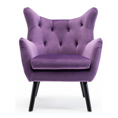 BELLEZE - Mid Century Tufted Wingback Chair, Purple - Armchairs and Accent Chairs