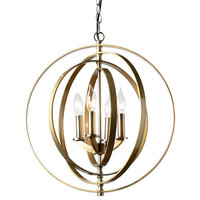 Modern and Contemporary Antique Brass Metal 4-Light Orbital Chandelier