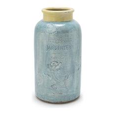 Aqua Blue and Yellow Glazed Terracotta Olive Pot Vase, Jardinier Aqua