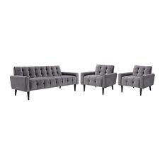 Modway Delve 3 Piece Velvet Tufted Sofa Set In Gray