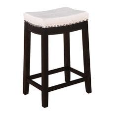 "Linon Claridge 26"" Wood Counter Stool in White"