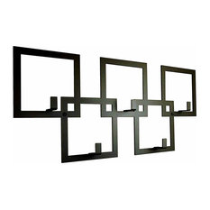 Contemporary Wall Mounted Coat Rack in Black Finished Metal, Square Design