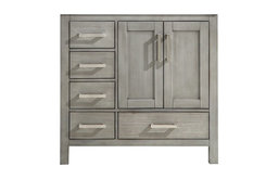 """Jacques 36"""" Left Drawer Vanity Cabinet Only, Distressed Gray"""