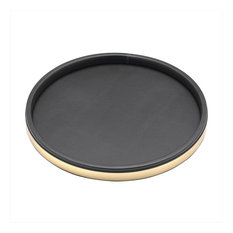 Kraftware Sophisticates Deluxe Tray, Black with Brushed Gold, Polished Gold