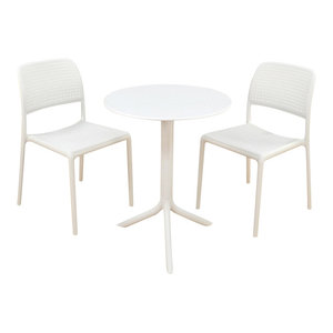 Step Table With Bistrot Chairs, 3-Piece Set, White
