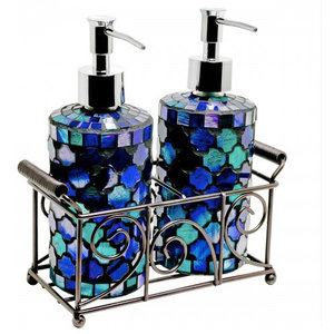 Mosaic Glass Soap Dispensers, Set of 2, Blue
