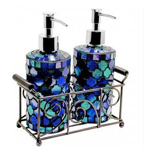 Mosaic Glass Soap Dispensers, Set of 2, Blue