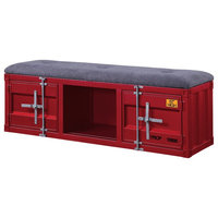 Acme Cargo Storage Bench With Gray Fabric And Red Finish 35956