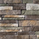 """Mountain View Stone - Stack Stone, Mossy Creek, 30 Sq. Ft. Flats - Stack stone is a profile that features a combination of sizes that creates an authentic appearance. This stone has drastic variations of thickness, depth, and character copied directly from nature. The stacked stone pattern is clean, contemporary and a favorite among designers and architects. Stack stone is a stone veneer product measuring 1"""" to 2.5"""" thick and therefore thinner than traditional stone siding for easier, lighter handling. All our manufactured stone veneer products are suitable for interior applications such as stone accent walls or stone fireplaces as well as exterior applications such as stone veneer siding. Stack stone is available in boxes of 10 square foot flats, boxes of 7.5 lineal foot matching corners, 150 square foot bulk crates, and samples are also available!"""