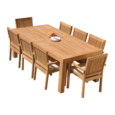 """9-Piece Outdoor Teak Dining Set: 86"""" Rectangle Table, 8 Leveb Stacking Arm Chair"""