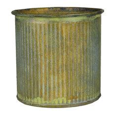"Corrugated Rustic Zinc Cylinder Vase Pot, 3"" tall, 6 pieces"