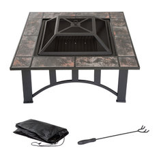 Pure Garden 33 Inch Square Tile Fire Pit With Cover