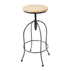 GDF Studio Allie Black Natural Fir Wood And Iron Height Adjustable Bar Stool