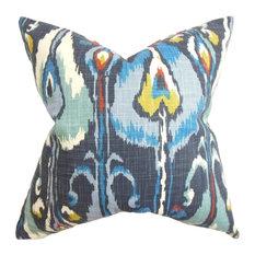 "Gudrun Ikat Blue Pillow, 20""x20"""