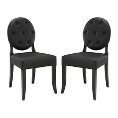 Black Button Dining Side Chair Set Of 2