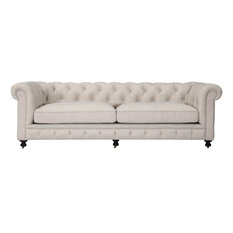 Kardiel - Chesterfield Classic Modern Premium Fabric Sofa, Cabana, Material: Twill - Sofas