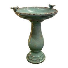 Antique Ceramic Birdbath With 2 Birds, Turquoise
