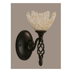 Toltec Company 161-DG-755 One Light Dark Granite Gold Ice Glass Bathroom Sconce