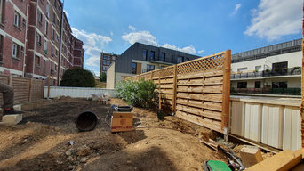 Gazon de placage et clôture