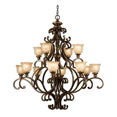 Norwalk 12-Light Chandelier Handpainted Amber Glass
