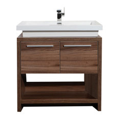 "Aquamoon Sparta 31 1/2"" Walnut Modern Bathroom Vanity Set"