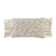 Jaipur Living Cilo Textured Lumbar Pillow, Cream/Light Gray, Polyester Fill
