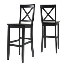 """X-Back Barstool, Black Finish With 30"""" Seat Height, Set of 2"""