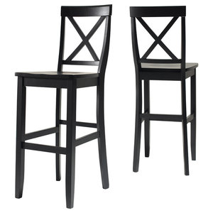 Magnificent X Back Bar Stools With 24 Seat Height Set Of 2 Andrewgaddart Wooden Chair Designs For Living Room Andrewgaddartcom