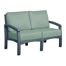 Bay Breeze  Loveseat w/ Cushions, Slate Gray/Spa Cushion