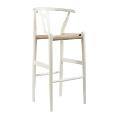 Mid-Century Modern Wishbone Stool, White Wood Y Stool