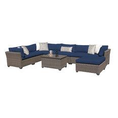 Monterey 9 Piece Outdoor Wicker Patio Furniture Set 09b, Navy