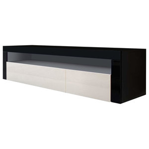 TV Stand Unit, Black Matte with 2 Flaps and 1 Open Case, Modern Design, Cream Hi