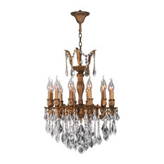 French Imperial 12-Light Crystal Chandelier, French Gold Finish, Clear Crystal