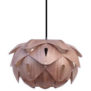 Cynara Wood Lampshade, Walnut and Sycamore, Medium, Open