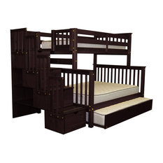 Bedz King Bunk Beds Twin over Full Stairway, 4 Drawers & Full Trundle Cappuccino