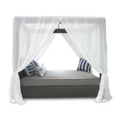 Palisades Queen Canopy Daybed, Sunbrella Navy Blue Cushion, White Canopy