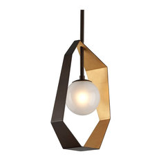 """Troy Pendants Origami Bronze With Gold Leaf Hand-Work Iron G9 LED 12"""""""