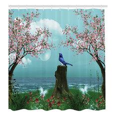 Mystical Nature Cherry Blossom Blue Bird Fabric Shower Curtain