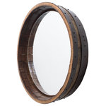 Alpine Wine Design - Inverted Hammered Copper Wine Barrel Mirror - We have skillfully repurposed the top of a Napa Valley wine barrel to fashion this mirror - for your home. Carefully retaining the beauty of the oak and hand finishing the original barrel bands surrounding the mirror, we know that it will provide you with lovely reflections for years to come. It also happens to be a perfect match for our popular Hammered Copper Wine Barrel Vanity!