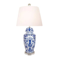 """Blue and White Porcelain Temple Jar Floral Chinoiserie Table Lamp 30"""""""