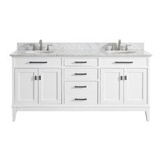 "Avanity Madison 73"" Double Vanity, White Finish, Carrera White Marble Top"