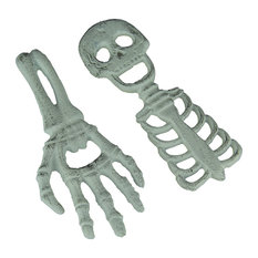 Set of 2 Cast Iron Halloween Bottle Openers Skeleton and Hand