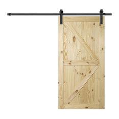 """Belleze - 42""""x84"""" Pine Unfinished Barn Sliding Door - Interior Doors"""