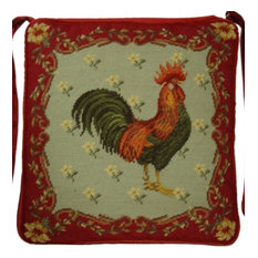 Rooster Chair Pad, Gross Point Green and Red